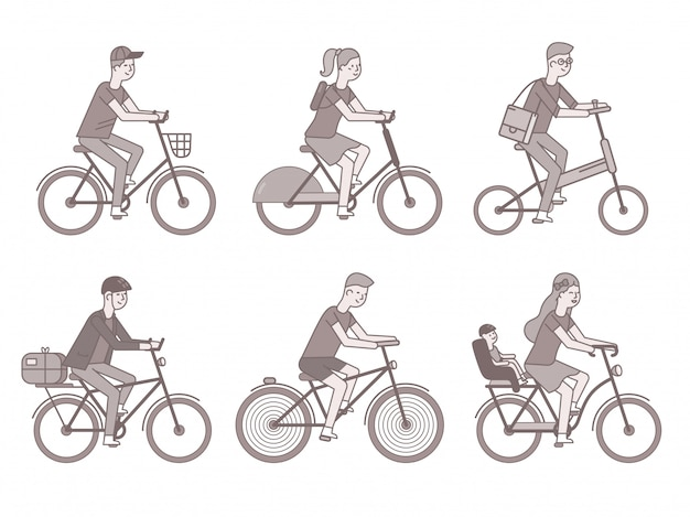 Radfahrer eingestellt. männer und frauen auf fahrrädern
