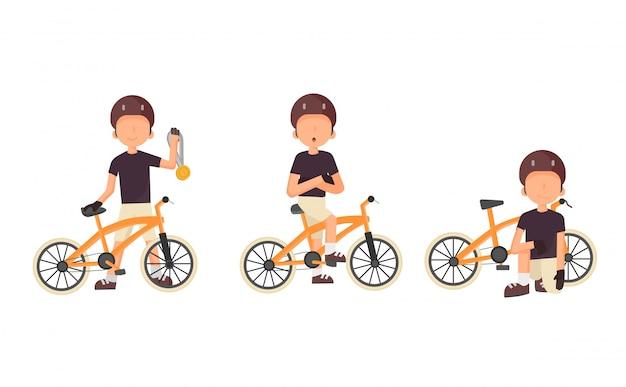 Radfahrer eingestellt. männlicher rennradfahrer. citybike im park entspannen, sport treiben, zur arbeit gehen