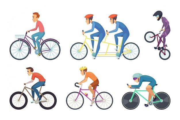 Radfahrer fahren verschiedene fahrräder. lustige charaktere isoliert