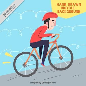 Radfahrer hintergrund in flaches design
