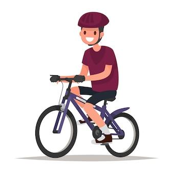 Radfahrer. mann gekleidet in sportkleidung und helm fährt auf dem fahrrad. illustration