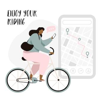 Radfahrer-navigations-app mit karten- und positions-pins. tracking-mobile-application-konzept für radfahrer. frauenradfahrer, der das reiten genießt.
