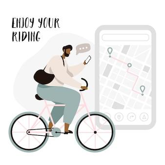 Radfahrer-navigations-app mit karten- und positions-pins. tracking-mobile-application-konzept für radfahrer. mannradfahrer, der das reiten genießt.