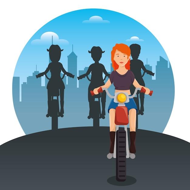 Radfahrerkultur-radfahrer, die motorräder reiten