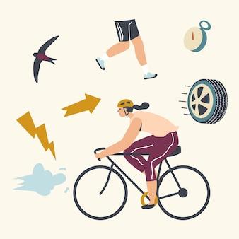Radfahrersportlerin in sportbekleidung und helm, die fahrrad draußen im sommertag reitet