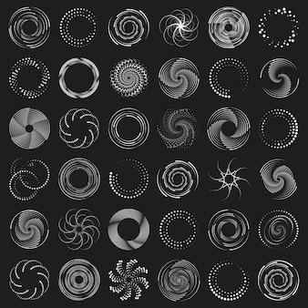 Radiale geschwindigkeitslinien mit dunklen gepunkteten kurven, die halbton wirbeln