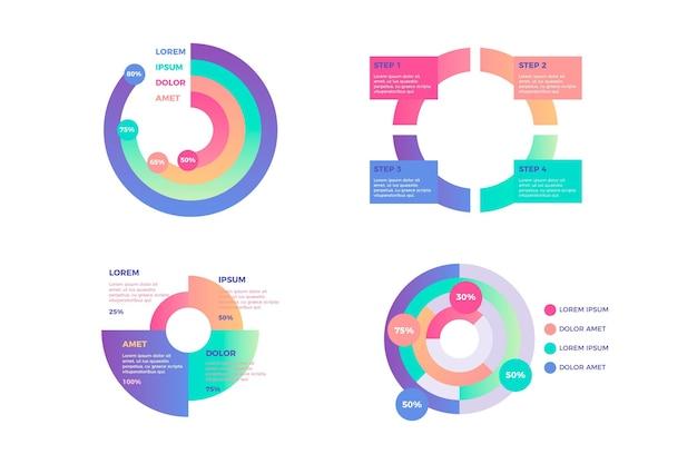 Radiale infografik-sammlung mit farbverlauf