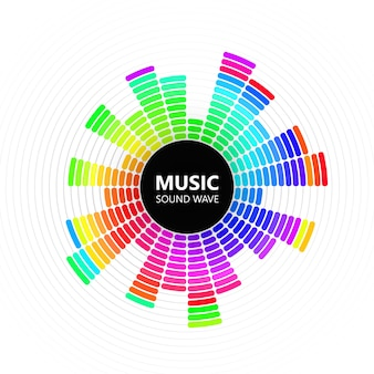 Radialer farbmusikentzerrer auf weißem hintergrund, illustration