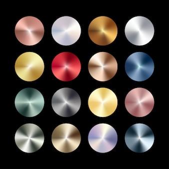 Radiales konisches metallchrom, roségold, bronze, silber, stahl, holographisches farbverlaufsset.