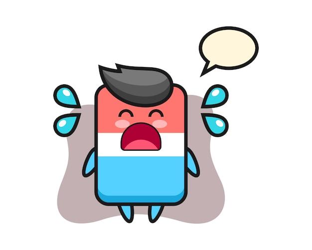 Radiergummi-karikaturillustration mit weinender geste, niedlichem stil, aufkleber, logoelement