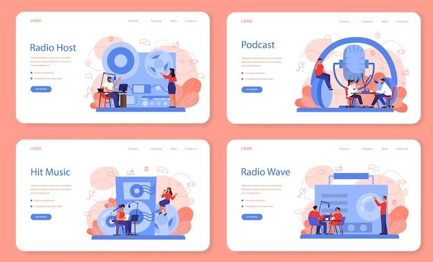 Radio host web landing page set. idee der nachrichtensendung