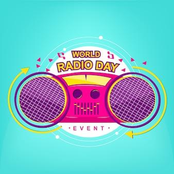 Radio logo event mit moderner pop-farbe