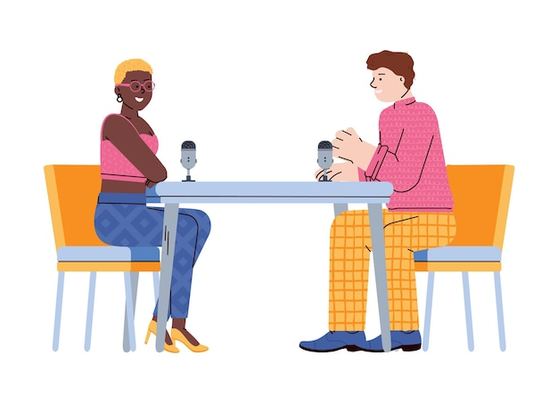 Radio-podcast-interview mit charakter-cartoon-illustration