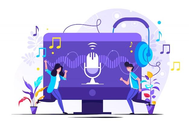 Radio talkshow, diskussion und interview personen konzept