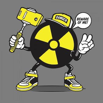 Radioaktives logo symbol selfie character