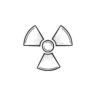 Radioaktives zeichen handsymbol gezeichneten umriss doodle. propellerzeichen, das die vektorskizzenillustration der radioaktiven verschmutzung für print, web, mobile und infografiken lokalisiert auf weißem hintergrund symbolisiert