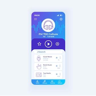 Radioanwendung smartphone-schnittstellenvektorvorlage. design-layout für mobile apps. online-bildschirm der radiosendung. fm-anwendung herunterladen. flache benutzeroberfläche für die anwendung. telefondisplay