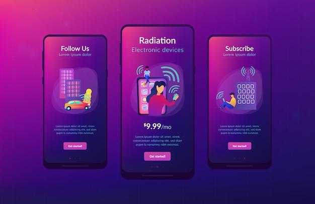 Radiofelder beeinflussen die app-interface-vorlage.