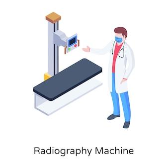 Radiographie-maschinenillustration im isometrischen design