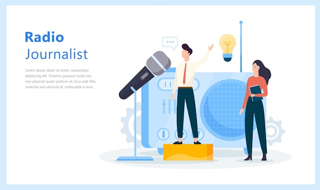 Radiojournalistenkonzept. idee einer nachrichtensendung im studio