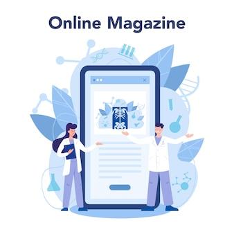Radiologe online-service oder plattform. doktor, der röntgenbild des menschlichen körpers untersucht. online-magazin.