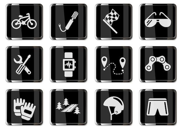 Radrennen-piktogramme in schwarzen chromknöpfen. symbolsatz für ihr design. vektorsymbole