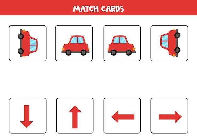 Räumliche ausrichtung mit rotem karikaturauto. links, rechts, oben oder unten.