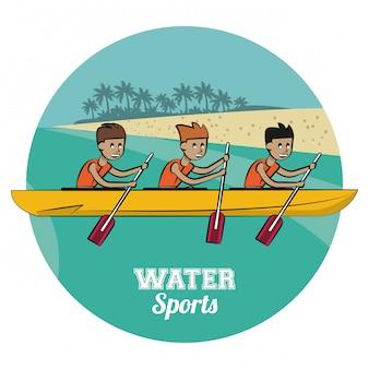 Rafling wassersport cartoon