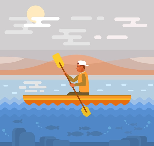 Rafting auf flussillustration