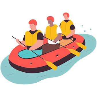 Rafting-cartoon-illustration isoliert auf weißem hintergrund.