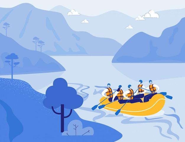 Rafting im hochland. extremsport, tourismus.