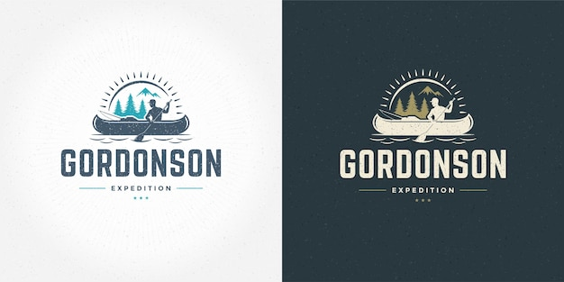 Rafting-logo-emblem-vektor-illustration outdoor-abenteuer-expeditionsboot und mann-silhouetten für hemd oder druckstempel. vintage-typografie-abzeichen-design.