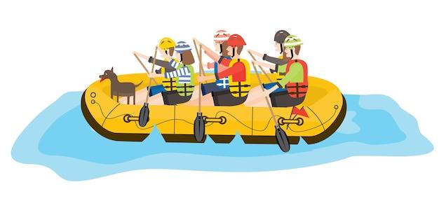 Rafting. sechs personen und hund im gelben boot. vektor-illustration.