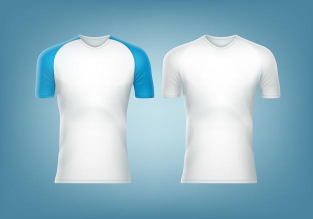 Raglan-t-shirt mit blauem kurzarm und weißem t-shirt
