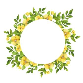 Rahmen aus gelben blüten mit blättern