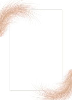 Rahmen aus getrocknetem natürlichem pampasgras. Premium Vektoren