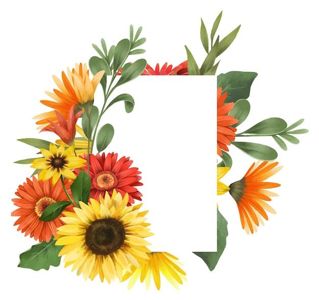 Rahmen aus herbstgerber und sonnenblumen
