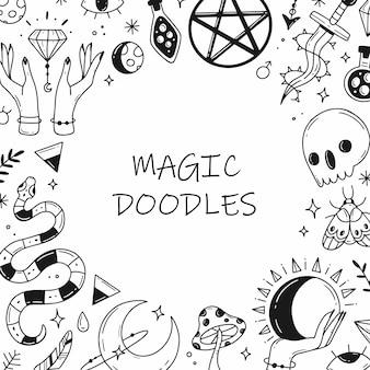 Rahmen aus magischen, esoterischen elementen im doodle-stil. schwarz-weiß-vektor-illustration.