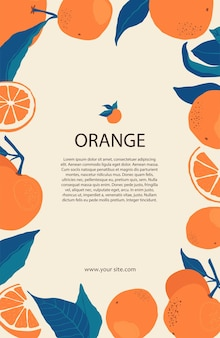 Rahmen aus orangen auf ästen mit kopienraum im flachen stil. vorlage mit zitrusfrüchten für ihr broschürendesign, banner, etiketten. vektorgrafik auf lager
