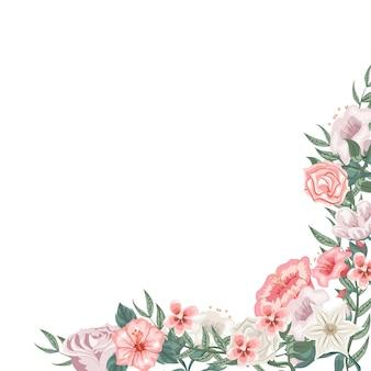 Rahmen aus rosen, tulpen und verschiedenen blumen zur widmung