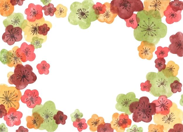 Rahmen aus sakura-blüten. aquarellillustration.