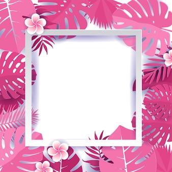 Rahmen aus tropischen monsterblättern mit frangipani-blüten. blumenkapernschnitt-designhintergrund