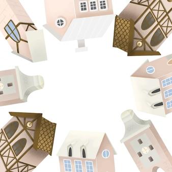 Rahmen der niedlichen bayerischen häuser, handgezeichnete illustration auf weiß