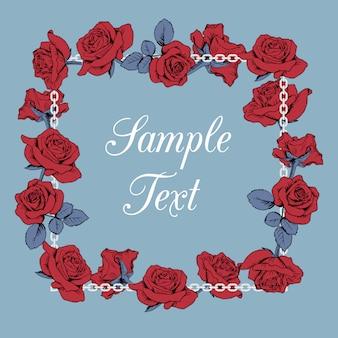 Rahmen der roten rosen mit blumenmuster mit beispieltext auf blauem hintergrund