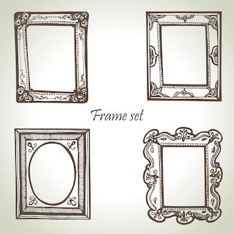 Rahmen eingestellt. handgezeichnete illustrationen
