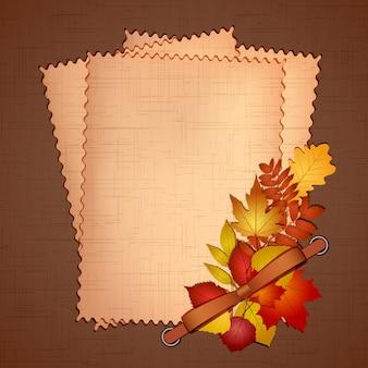 Rahmen für ein foto oder einladungen mit herbstlaub. illustration