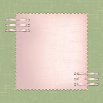 Rahmen für ein foto oder einladungen mit rosa schleifen auf grünem hintergrund. vektor-illustration