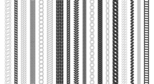 Rahmen für seilbürsten, dekorativer schwarzer liniensatz. kettenmusterbürsten setzen geflochtenes seil lokalisiert auf weißem hintergrund. dicke kabel- oder drahtelemente.