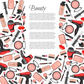 Rahmen für text mit einer reihe von beauty-artikel. cartoon-stil.