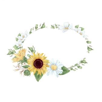 Rahmen im digitalen aquarellstil von sonnenblumen und gänseblümchen